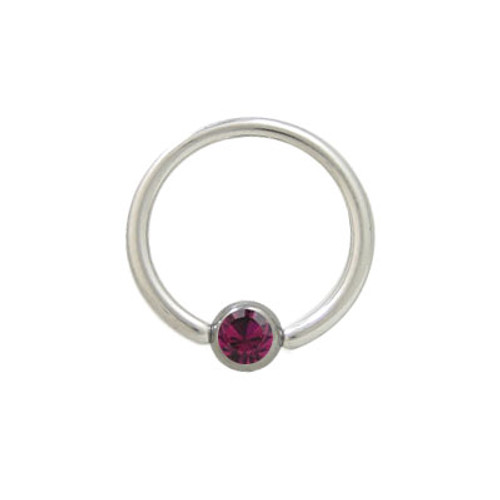 Captive Bead Ring Surgical Steel with Purple Jewel