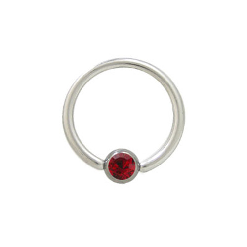 Captive Bead Ring Surgical Steel with Red Jewel