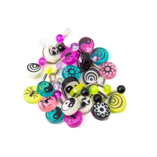 """Lot of 20 Logo Belly Button Piercing Jewelry - 316L Surgical Steel, 14ga-3/8""""(10 mm)"""