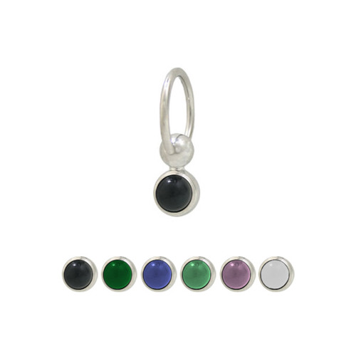 Captive Hoop Belly Ring 14ga Surgical Steel with Semi-Precious Stone