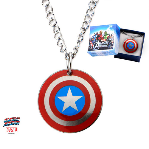 Captain America Logo Kids Stainless Steel Pendant with Chain - Box Included!