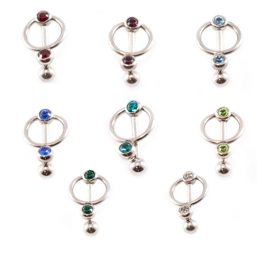 Cartilage - Tragus Barbell Earring, Door Knocker Design with Jewels