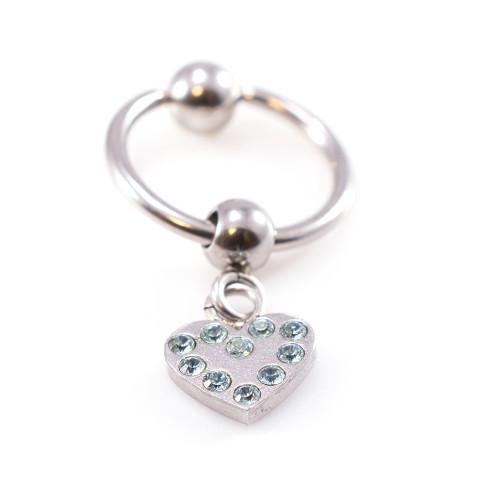 Light Blue Jewels Cartilage - Tragus Earring, Heart Design