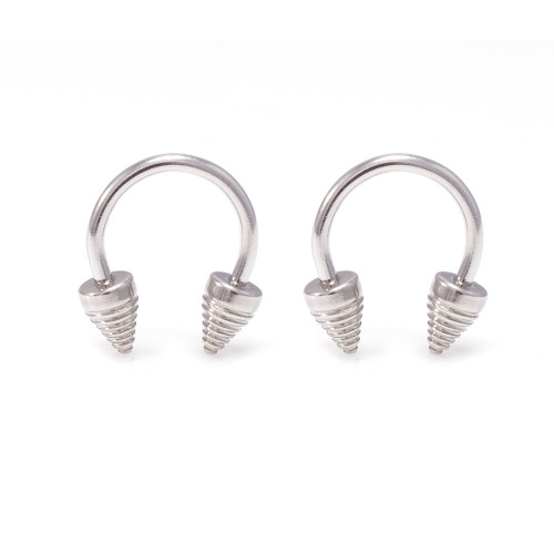 Pair of 316L Stainless Steel 14G Circular Cone Horseshoe Nose Piercing Septum Lip Nipple Eyebrow Rings Hoop Helix Tragus Cartilage Ear