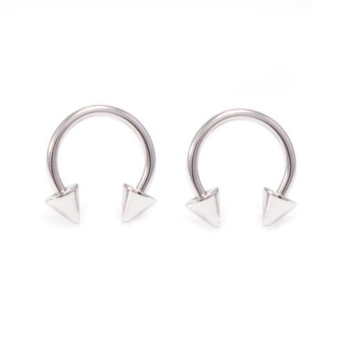 Pair of 316L Stainless Steel Spike Horseshoe Nose Piercing Septum Lip Nipple Eyebrow Rings Hoop Helix Tragus Cartilage Ear