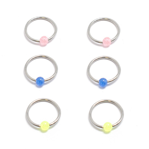 Captive Bead Ring Acrylic Bead 18G Surgical Steel Jewelry-6pc
