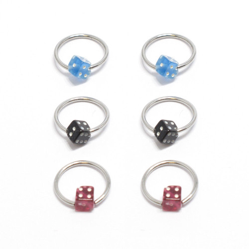 Nipple Ring Septum 6pc Captive Bead Ring Acrylic Dice 18G Surgical Steel Jewelry