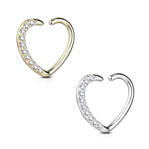 Ear Cartilage Heart Shape 14Kt Gold with CZ Paved , Daith Hoop, Tragus, Rook, Ear 16ga