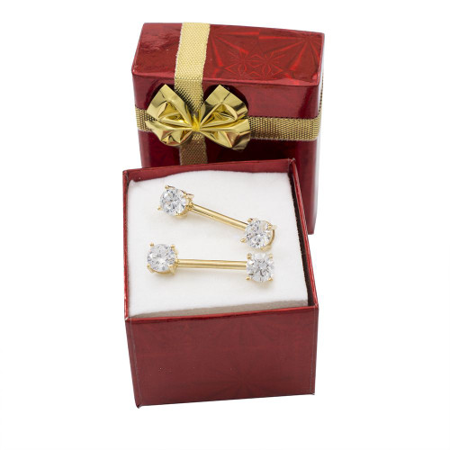 Holiday Gift Set- Pair of 14kt Yellow Gold Nipple Barbells with CZ Jewels + Free Gift Box