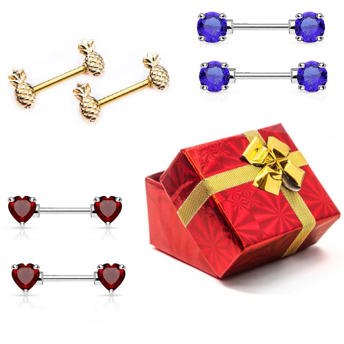 Pack of  3 Pairs of Assorted Designed Nipple Piercing Jewelry 14g- Gift Box Included