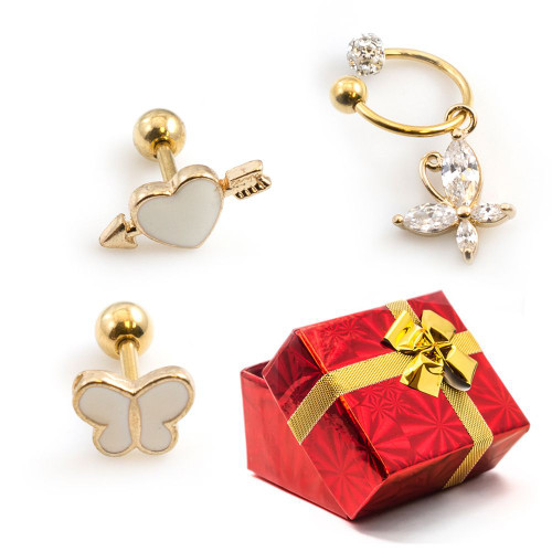 Package of 3 Cartilage Jewelry with Butterfly and Heart Design 16g