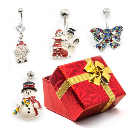 Pack of 4 Holiday Belly Button Rings with Gift Box #1