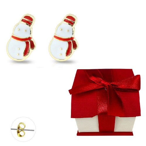 Pair of Gold Plated Enamel Snowman Stud Earrings 20ga Surgical Steel