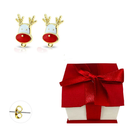 Pair of Gold Plated Enamel Reindeer Stud Earrings Surgical Steel 20ga