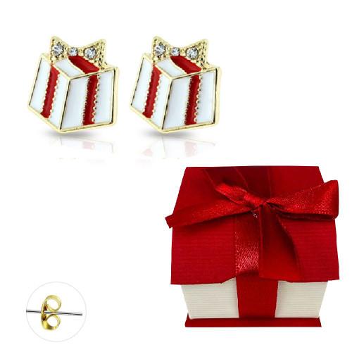 Pair of Gold Plated Gem Enamel Present Stud Earrings 20ga Surgical Steel