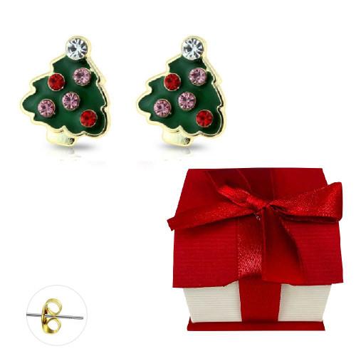 Pair of Gold Plated Gem Embedded Enamel Christmas Tree Stud Earrings 20ga Surgical Steel