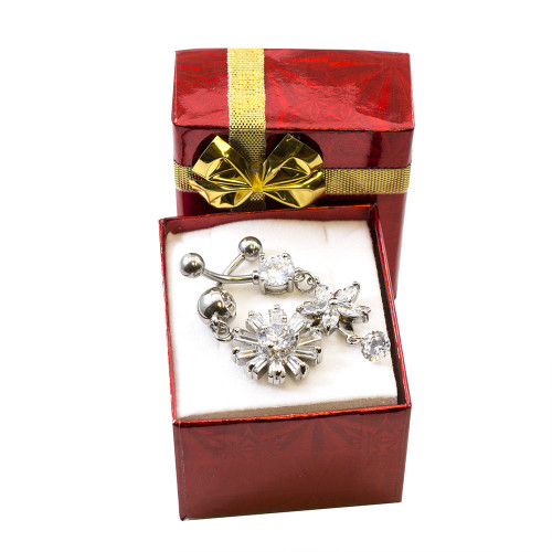 Fancy Holiday Belly Button Ring Set - 2pcs + Gift Box