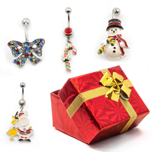 Pack of 4 Holiday Belly Button Rings with Gift Box #5