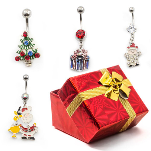 Pack of 4 Holiday Belly Button Rings with Gift Box #7