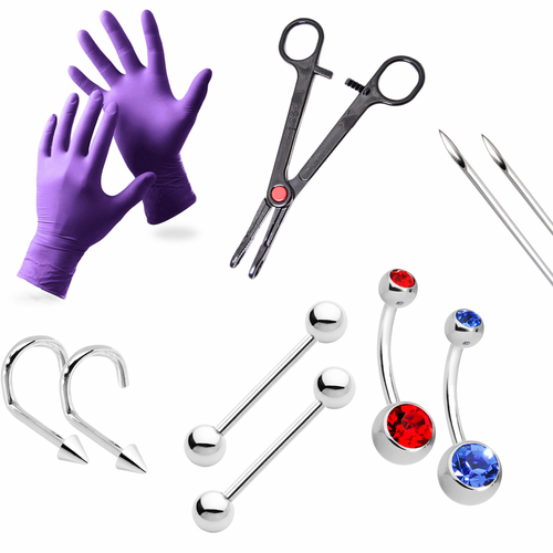 LionGothic Professional Piercing Kit 10 Pieces