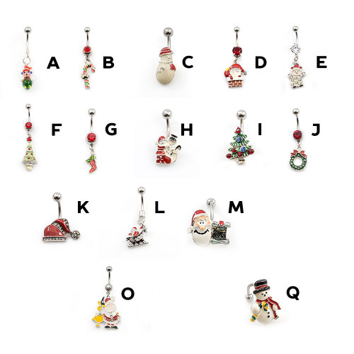 Christmas Inspired Belly Button Rings 14g- Choose Your Designs + Free Gift Box