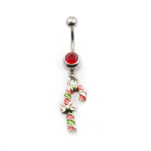 Christmas Candy Cane Jeweled Belly Ring
