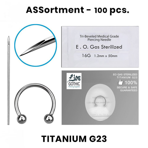 Circular Barbells Piercing Kit Containing 100pcs of Titanium G23 16 Gauge 14 Gauge