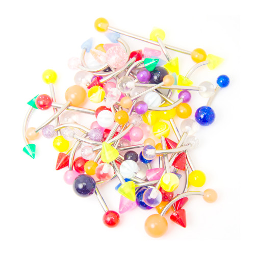 100 Assorted Piercing Barbells - Glitter, Acrylic, UV Glow - Assorted Gauges and Lengths