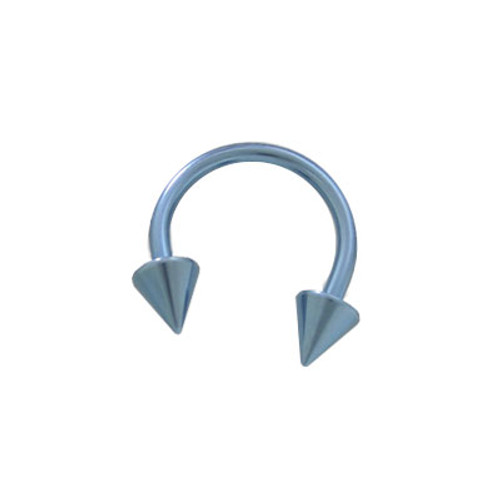 Light Blue Solid Titanium 14 gauge Horse Shoe Ring Spike Heads