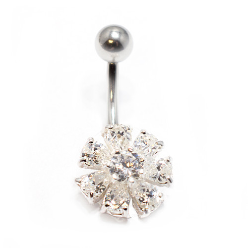 Clear Cz Gem Flower 14 gauge Belly Button Ring - Out of Stock
