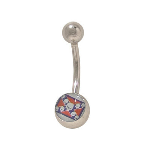 Confederate Flag with Skulls 14 gauge Belly Ring Surgical Steel