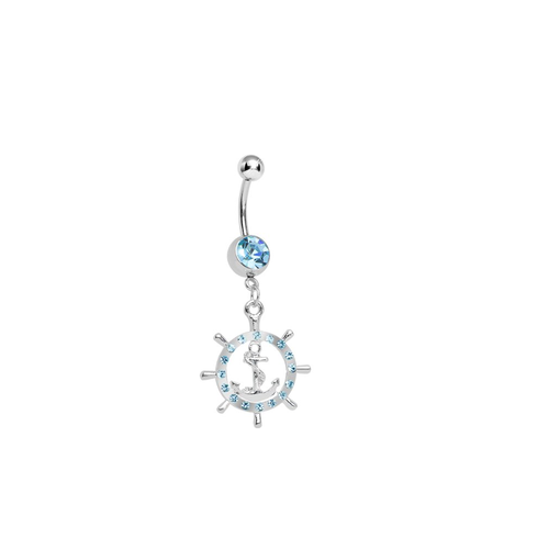 Nauticall Belly Button Ring Ship's Wheel Whith Blue Jewel 14 Gauge