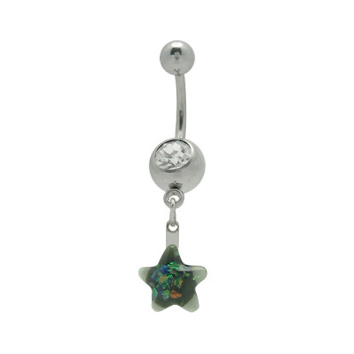 Colorful Star 14 gauge Dangling Belly Barbell