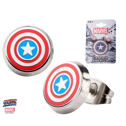 Pair of Enamel Captain America Logo Round Ear Studs