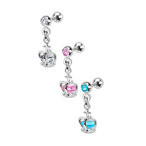 Dangle Crown Cage with Loose Gem Cartilage / Tragus Barbell Earring