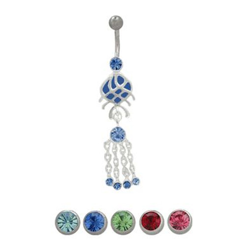 14 gauge Belly Button Ring surgical steel with sterling silver design