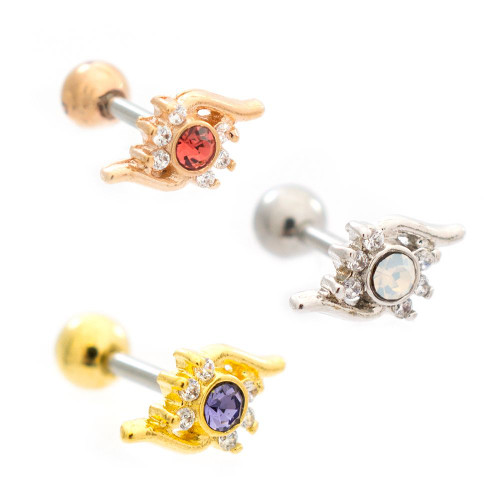 Two Tone Flame Cubic Zirconia Design Ear Cartilage Barbell 16ga Surgical Steel- Sold Each