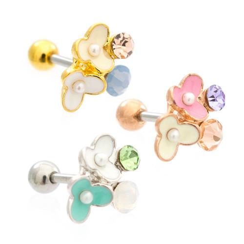 Enamel Flowers Cubic Zirconia Jeweled Design Ear Cartilage Barbell 16ga Surgical Steel - Sold Each