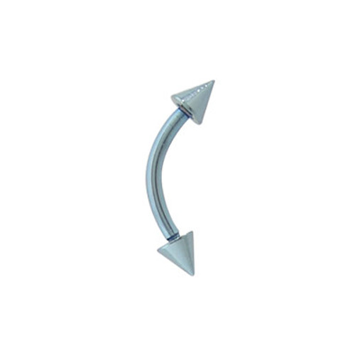 16 gauge Light Blue Curved Barbell Eyebrow Ring Solid Titanium