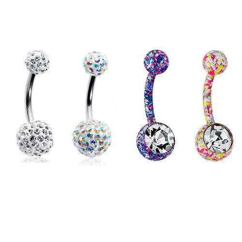 Belly Rings 14G Unique Design Surgical Steel CZ Gems 4 Pack