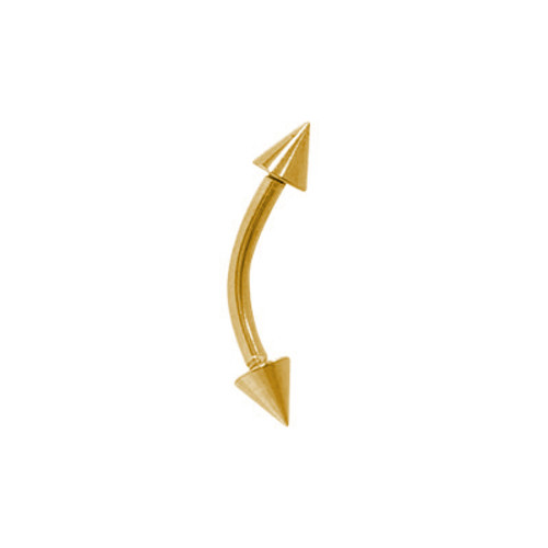 Curved Barbell 16 gauge Eyebrow Ring Yellow Solid Titanium