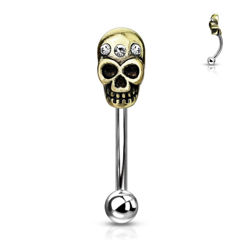 Curved Eyebrow Rings Curved barbell Surgical Steel with Antique gold IP Skull design - Out of Stock