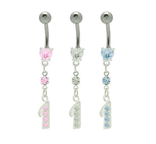 Cz Gems Dangle #1 Heart 14 gauge Belly Button Ring