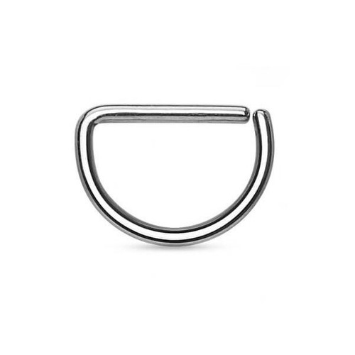 "D-Shaped Nose Hoop - 316L Surgical Steel 16ga-3/8""(10 mm)"