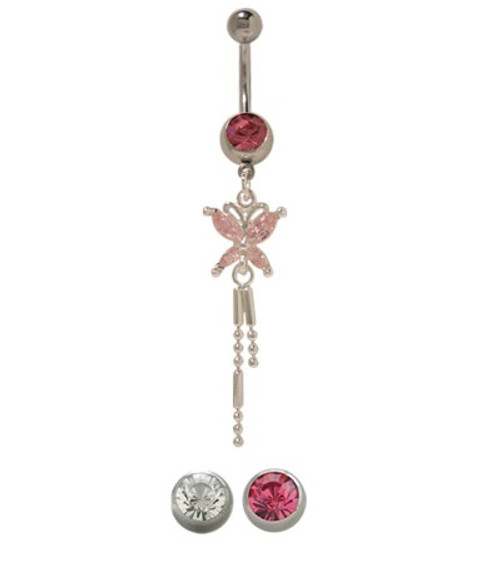 14 gauge Dangling Butterfly Belly Button Ring with Cz Jewels