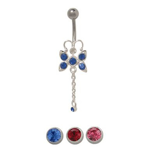 14 gauge Dangling Butterfly Belly Ring Surgical Steel with Jewels