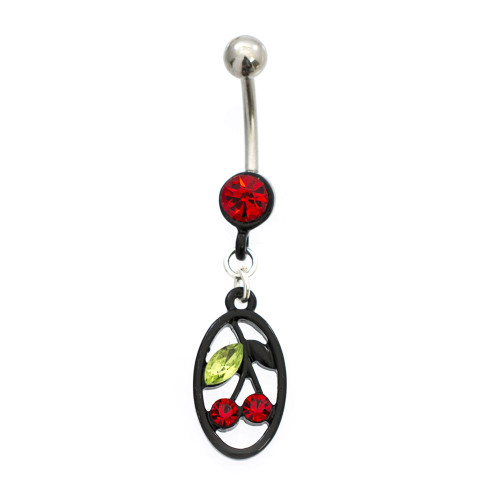 Black IP Circular Cherry Belly Button Ring with CZ Jewels 14ga Surgical Steel