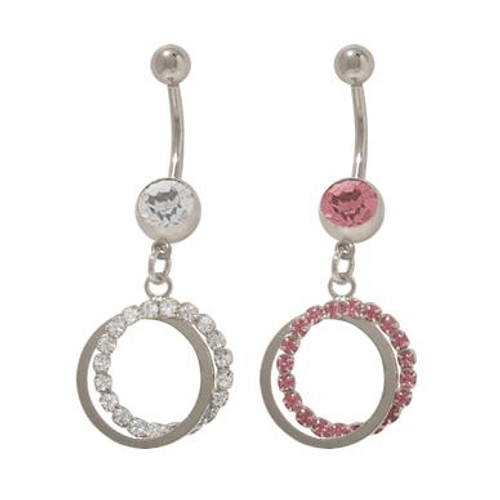 14 gauge Dangler Circles Belly Button Ring with Jewels