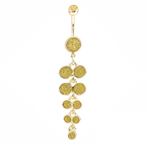 Gold Ion-Plated Belly Button Ring With Sugar Dust Design