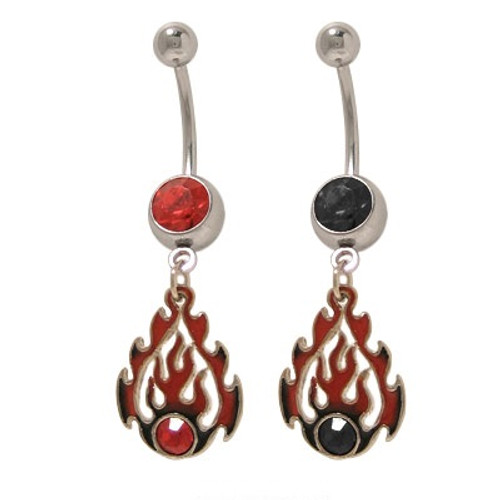 14 gauge Dangler Flames Belly Button Ring with Cz Jewels - Out of Stock